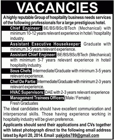 Chief Engineer Job, Lahore Hotel Job, Management Trainees Officers ...