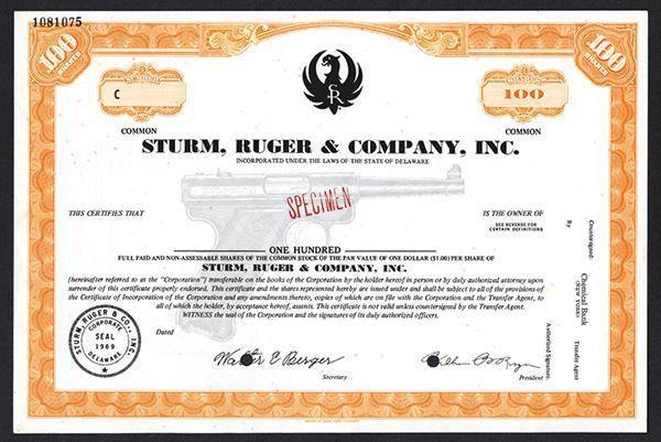 Sturm, Ruger & Co., Inc. 1969 Specimen Stock Certificate.