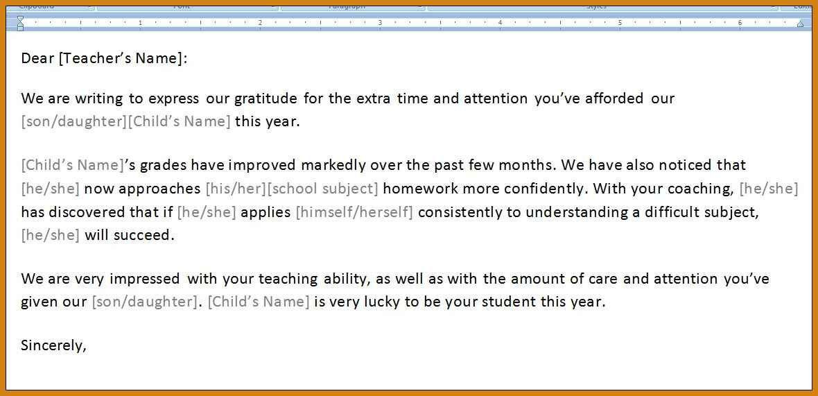 Thank You Letters To Teachers | Letter Format Template
