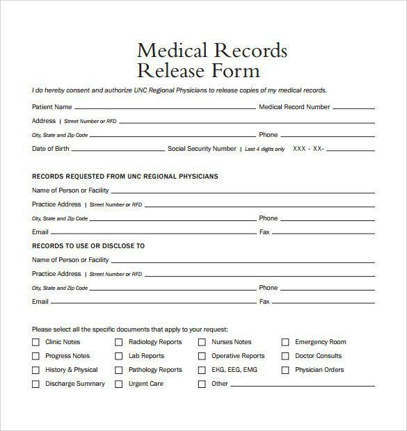 Medical Records Release Form Template | Best Template Examples