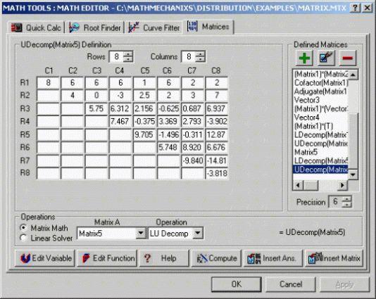 Math Software, Matrices - Math Mechanixs