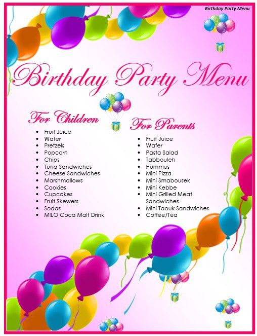 7 Free Sample Birthday Menu Templates – Printable Samples