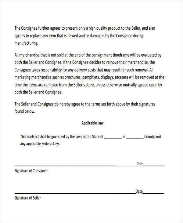 Consignment Agreement Template Word - Fiveoutsiders