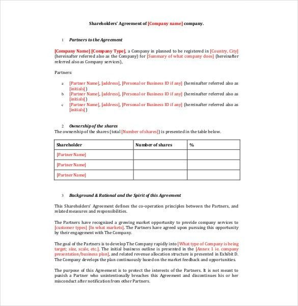 10+ Shareholder Agreement Templates – Free Sample, Example, Format ...