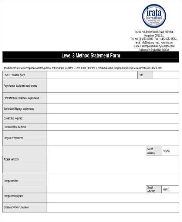 Statement Form in PDF