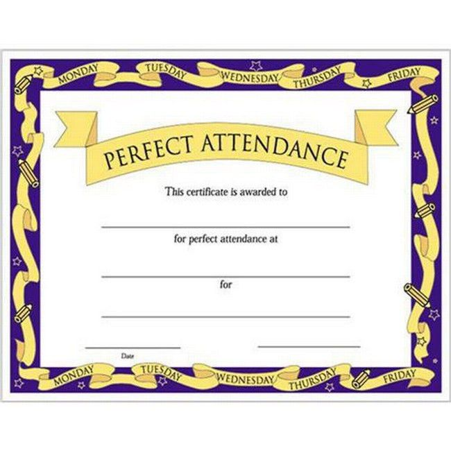Perfect Attendance Certificate | Promos On-Time