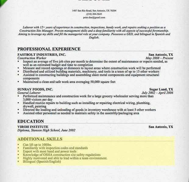 Neat Design Sample Skills For Resume 6 How To Write A Section - CV ...