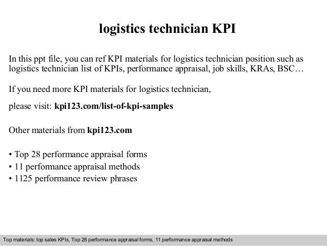 Logistics technician kpi