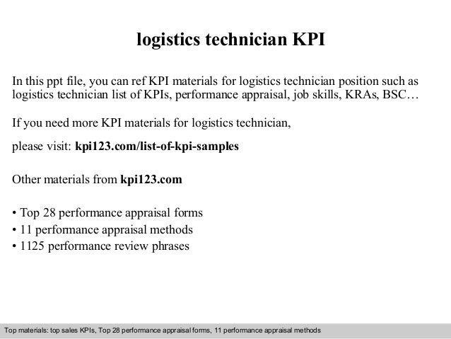 Logistics technician kpi