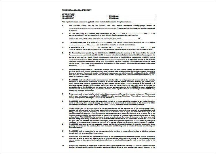 Lease Agreement Template - Free Word, PDF Documents | Creative ...