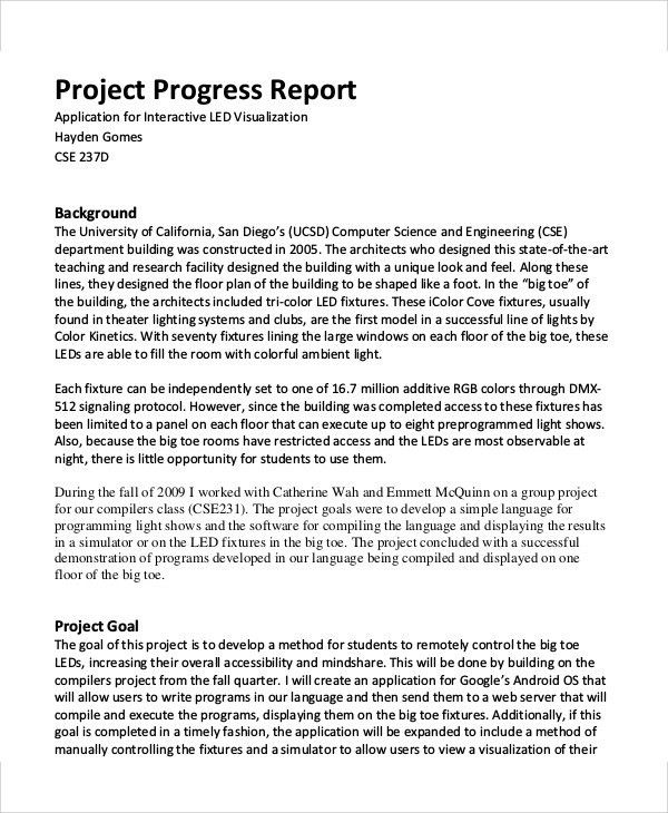 Sample Project Status Report. Project Status Summary Report ...
