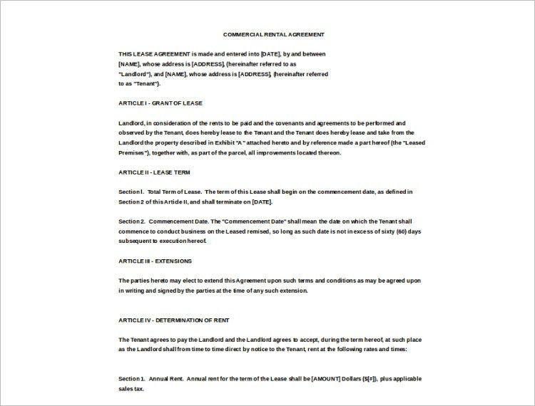 Rental Agreement Template - Free PDF, Word Documents | Creative ...