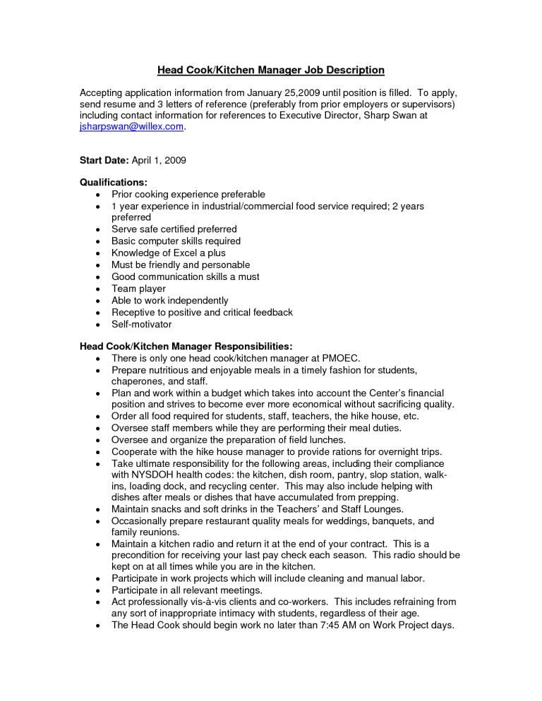 sample kitchen manager resume