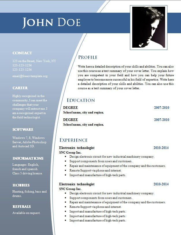 Free Resume Templates In Word. 2014 Resume Templates Resume ...