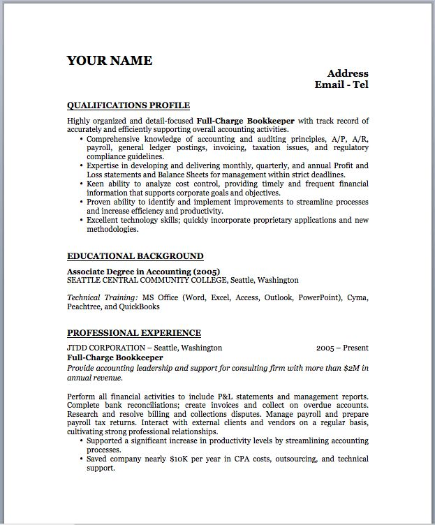 Bookkeeper Sample Resume | Free Resumes Tips
