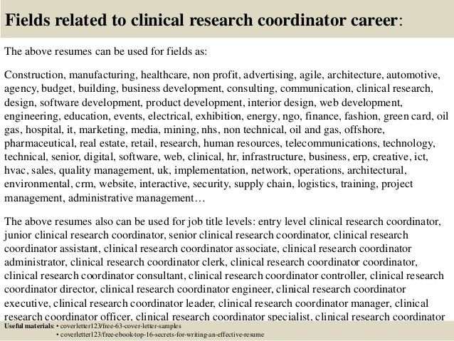 clinical research coordinator cover letters