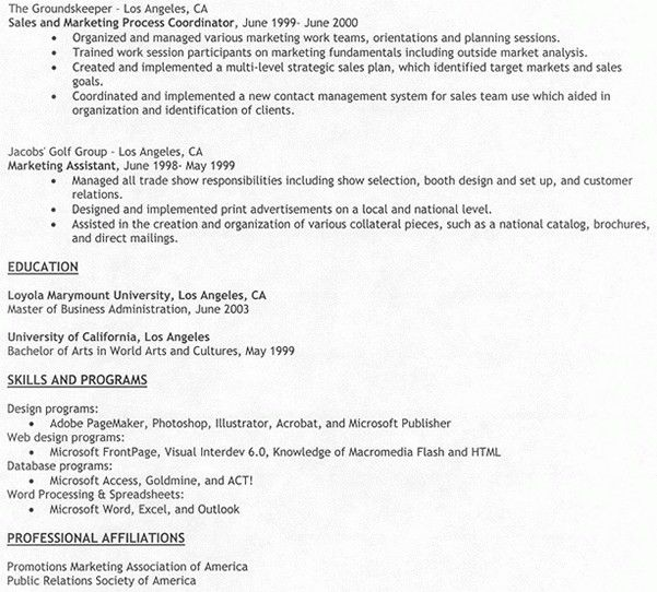 Work Experience Resume Sample, samples resume sales associate ...