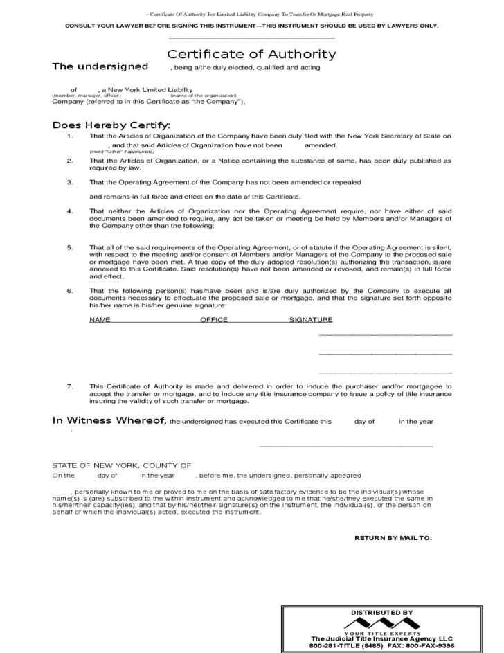 Certificate of Authority (Limited Liability Company) Free Download