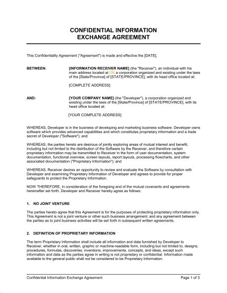 Confidential Information Exchange Agreement - Template & Sample ...