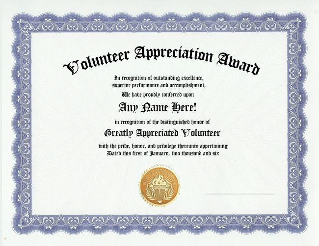 Free Volunteer Appreciation Certificates — SignUp.com … | Pinteres…