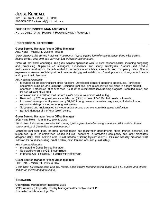 Free Guest Service Manager Resume Example throughout Service ...