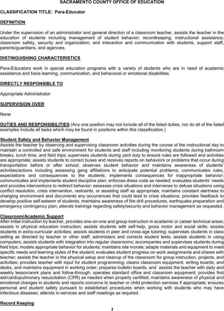 paraeducator resume sample resume cv cover letter paraeducator ...