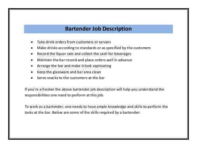 Bartender Job Description Resume | berathen.Com