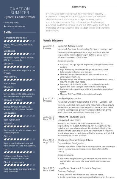 Systems Administrator Resume samples - VisualCV resume samples ...