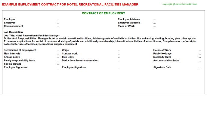 Hotel Recreational Facilities Manager Employment Contract
