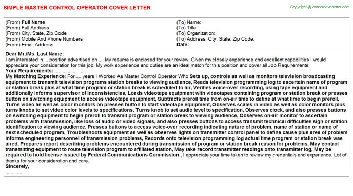 Master Control Operator Cover Letter