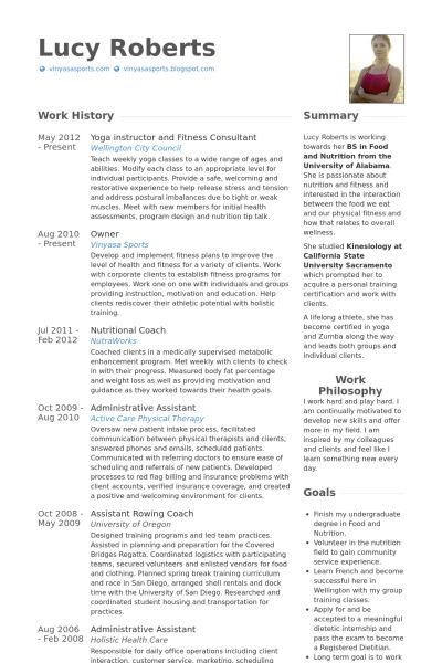 Yoga Instructor Resume samples - VisualCV resume samples database