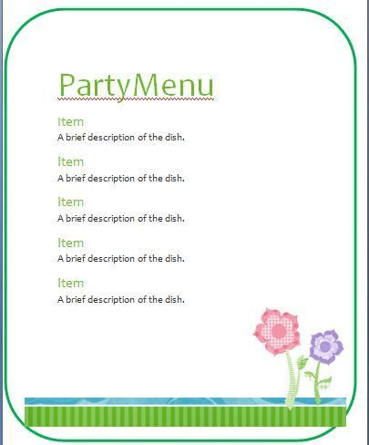 Sample Party Menu Template | Formal Word Templates