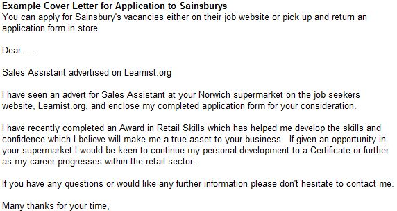 Example Cover Letter for Application to Sainsburys - forums ...