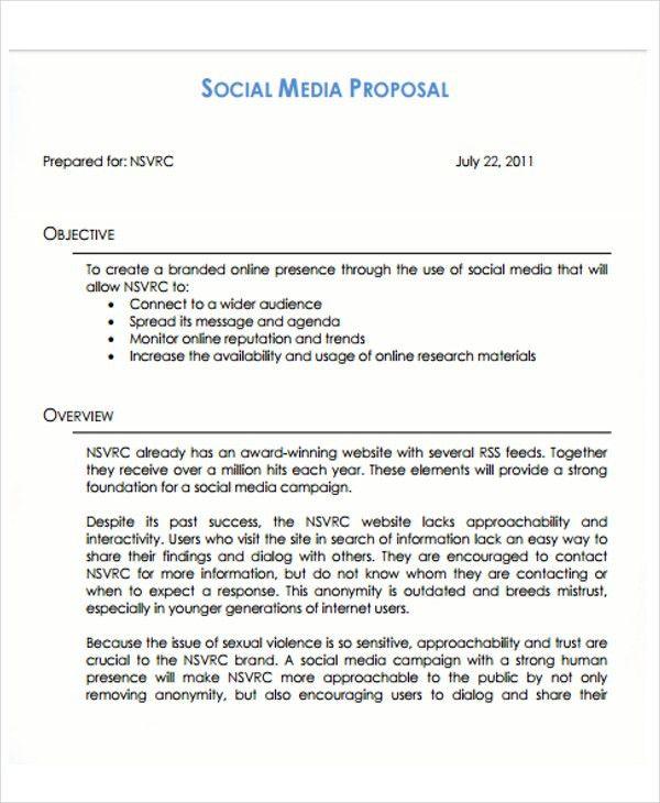 10 Social Media Proposal Templates -Free Sample, Example Format ...