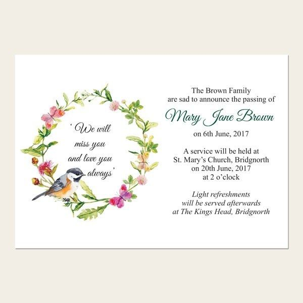 Funeral Announcement Cards - Funeral Stationery - Occasions
