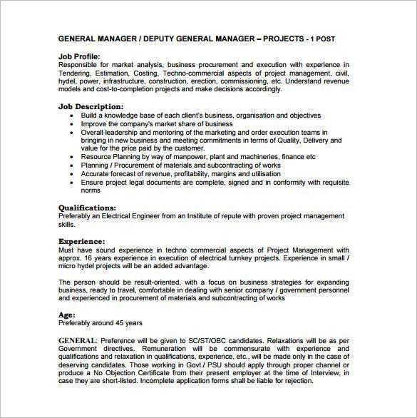 Elegant General Manager Job Description | Best Business Template Nice Design