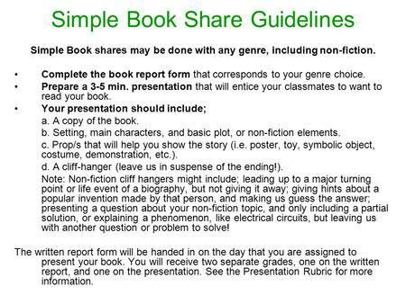 5th Grade Book Share Guidelines - ppt download