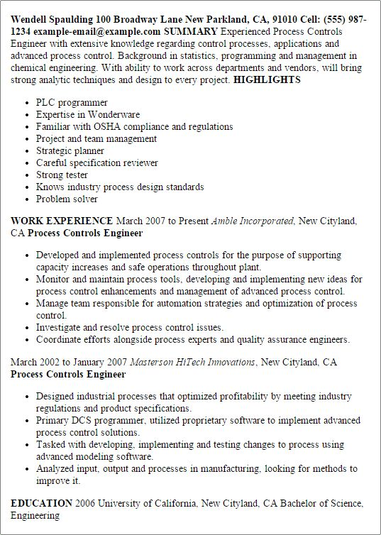 Advanced Process Control Engineer Sample Resume 9 Protection And ...