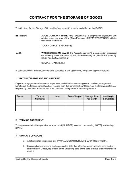 Contract for the Storage of Goods - Template & Sample Form ...