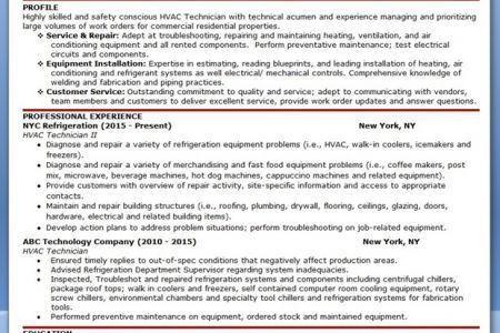 entry level hvac resume sample unforgettable hvac and