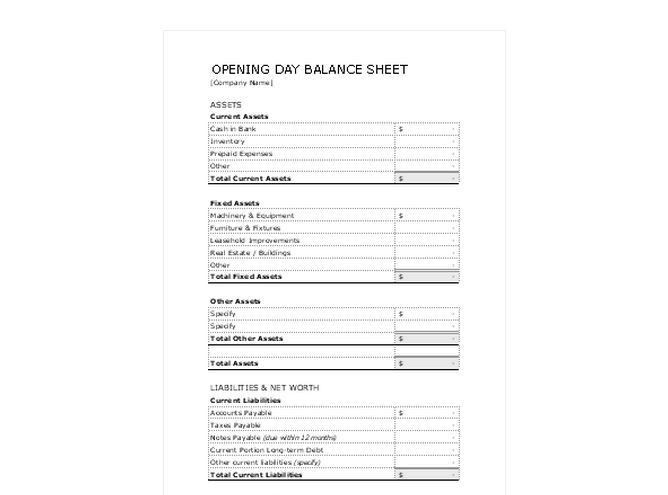 Opening Day Balance Sheet | Opening Day Balance Sheet Template
