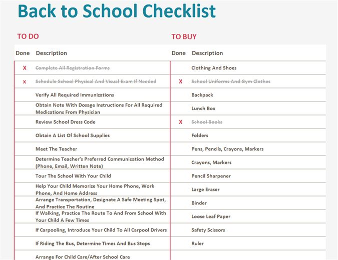 Back to school checklist - Office Templates