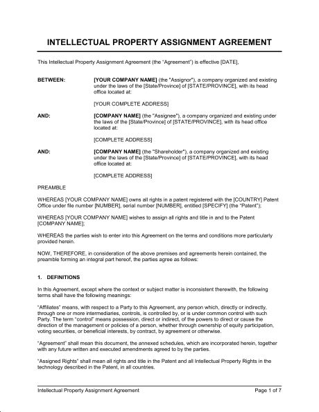 Intellectual Property Assignment - Template & Sample Form ...