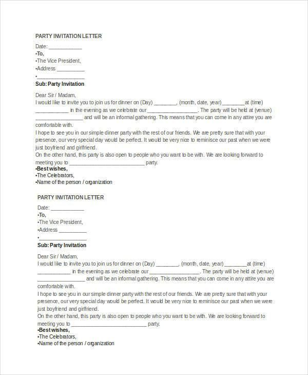Invitation Letter Templates - 6+ Free Word, PDF Documents Download ...