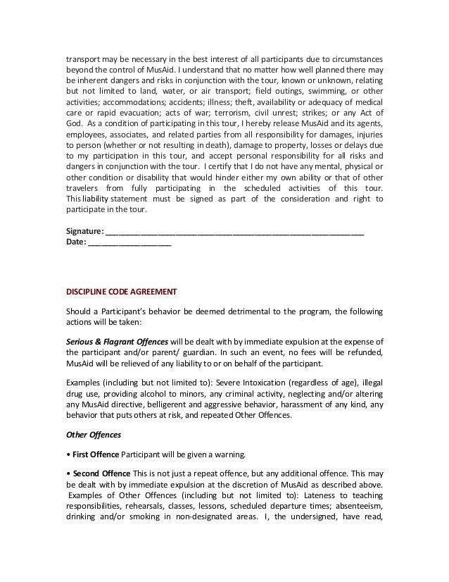 MusAid Fellowship Program Contract and Liability Release