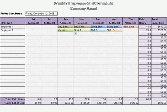 Work Schedule Template - Weekly Employee Shift Schedule Templatelate