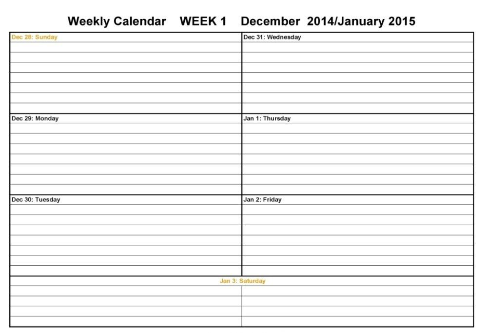 Two Week Calendar Template | Calendar Template : Weekly Calendar