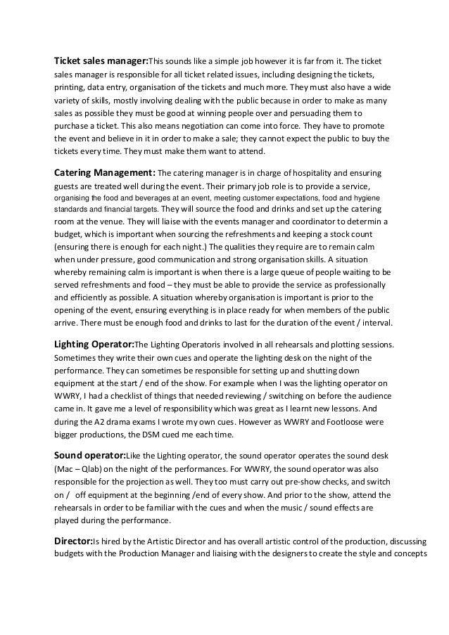 Events management team job roles