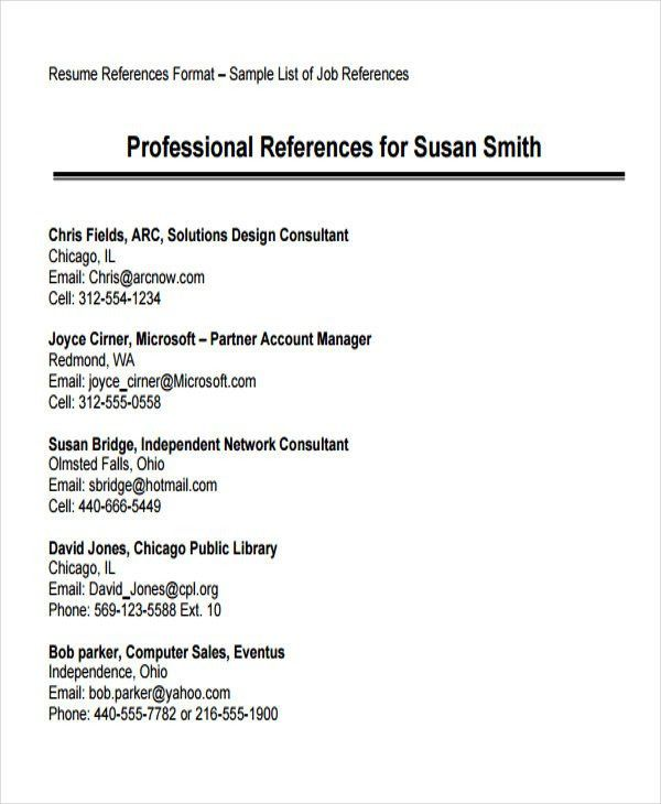 resume reference format