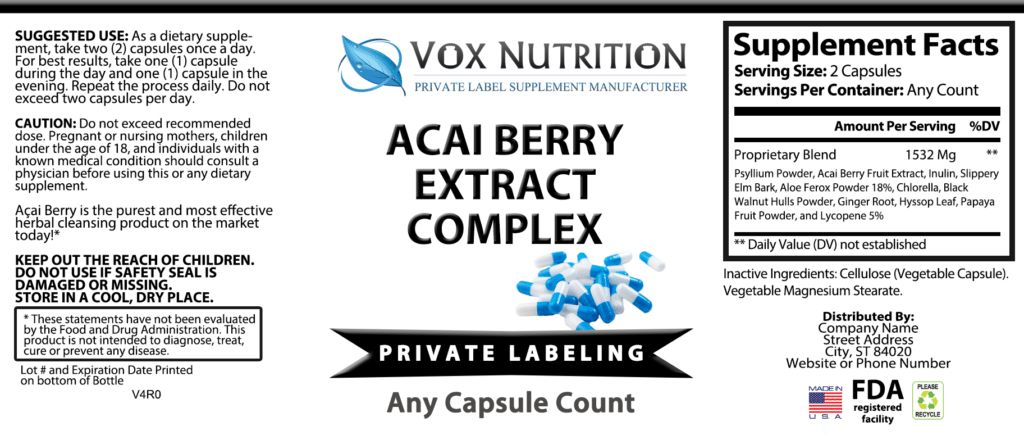 Private Label Acai Berry Weight Loss Supplement | Vox Nutrition